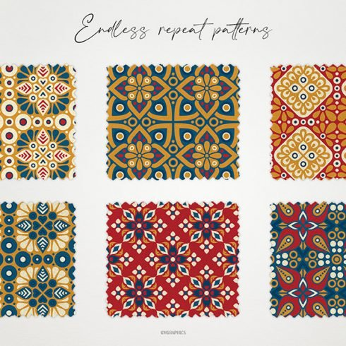 Colorful Deco Ornaments Vector Seamless Patterns main cover.