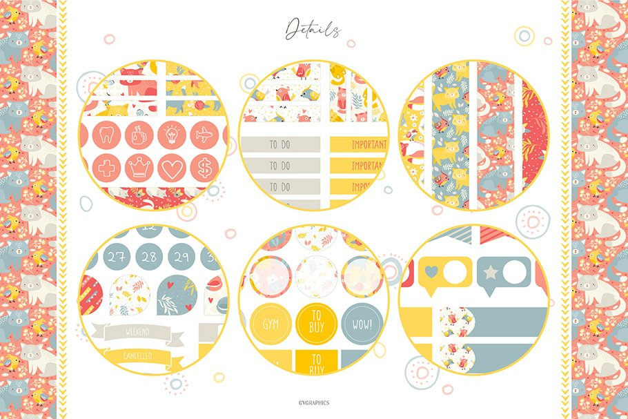Cats and birds planner stickers in circle yellow border.