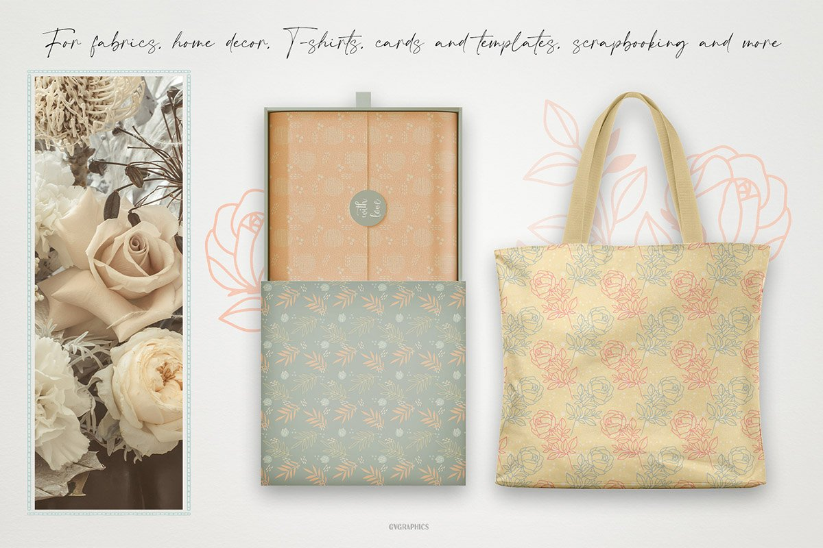 Roses are a great option for decorating clothes and eco-bags.