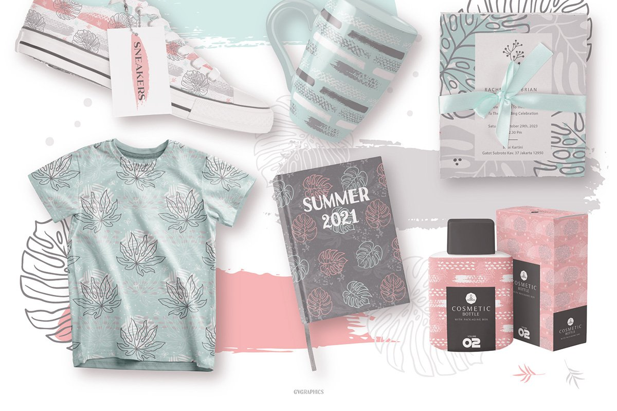 Each of the patterns consists of playful hand-drawn elements that define summer.