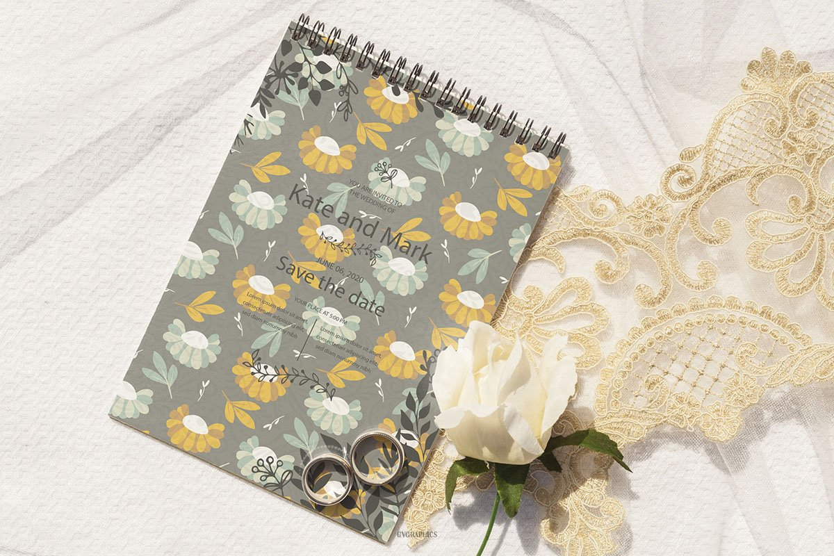 Spring notebook in gray with yellow flowers.