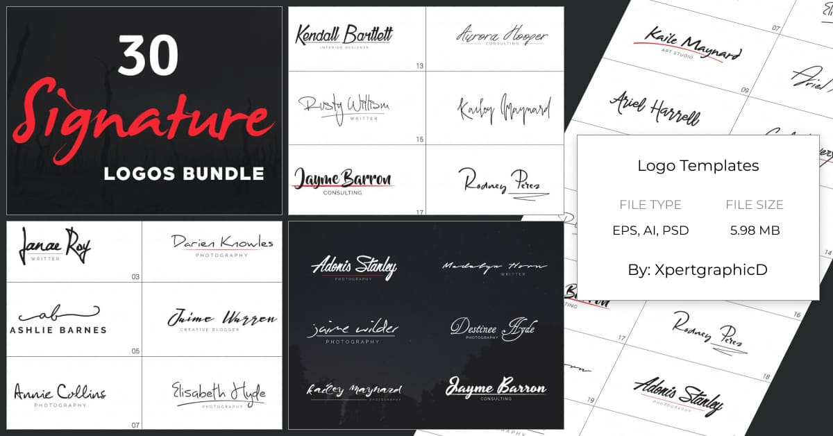 The logo in the style of the signature of the president of the company is expensive and rich.