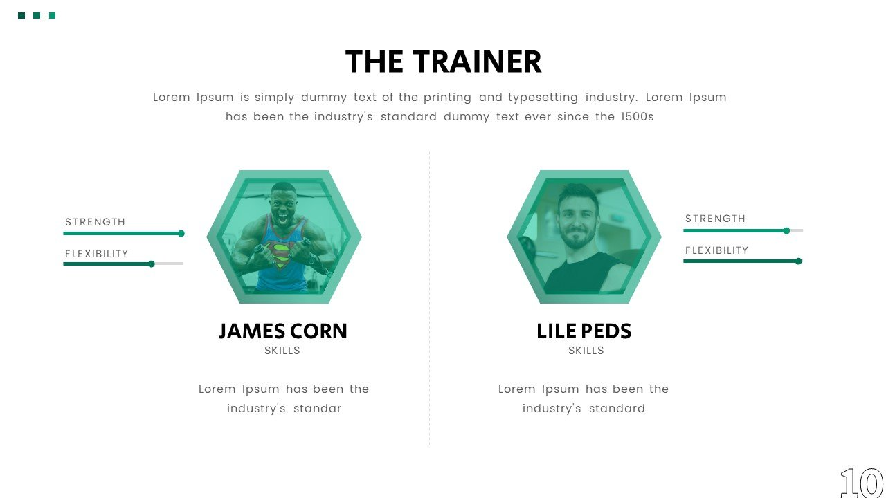 Interactive slides to display your team.