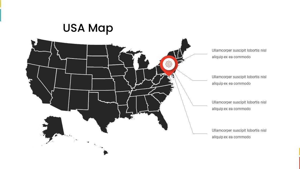 Black USA map.