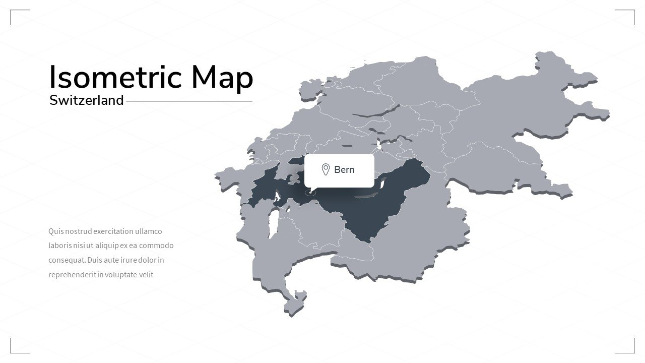 Grey Switzerland map with the capital of country.