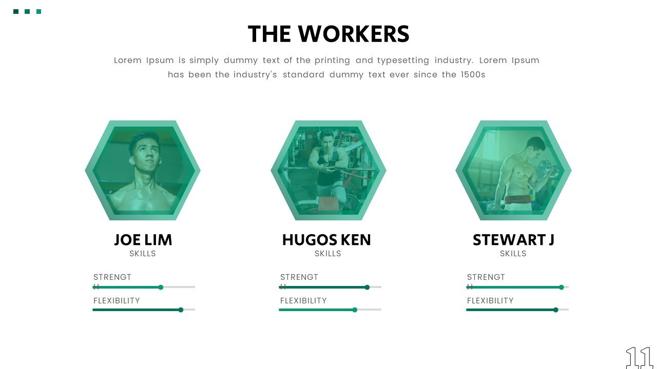 Interactive slides to display your team with their benefits.