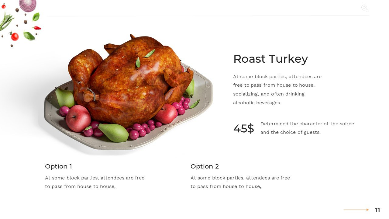 Turkey with a price and two options.