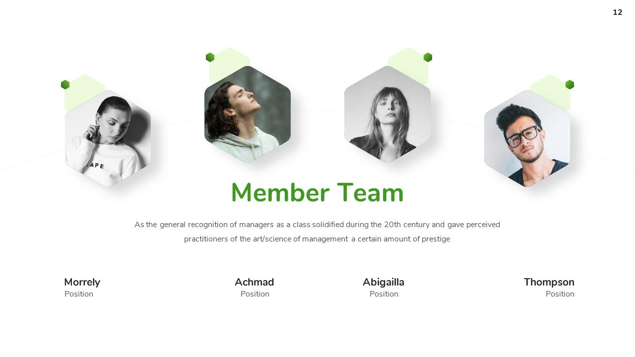 You have the option to present the team in the form of an arch, where there will be a photo and description about each.