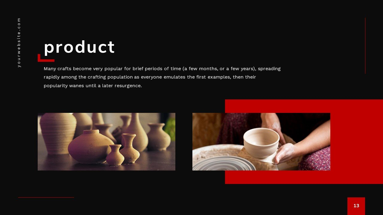 This template gives you a whole range of options for presenting your products.