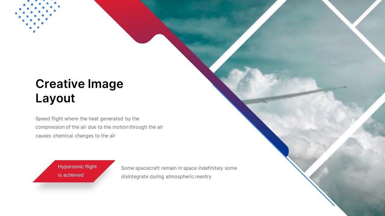 The template has bright elements in the form of letters and background images, a calm pacifying background and modern geometric lines.