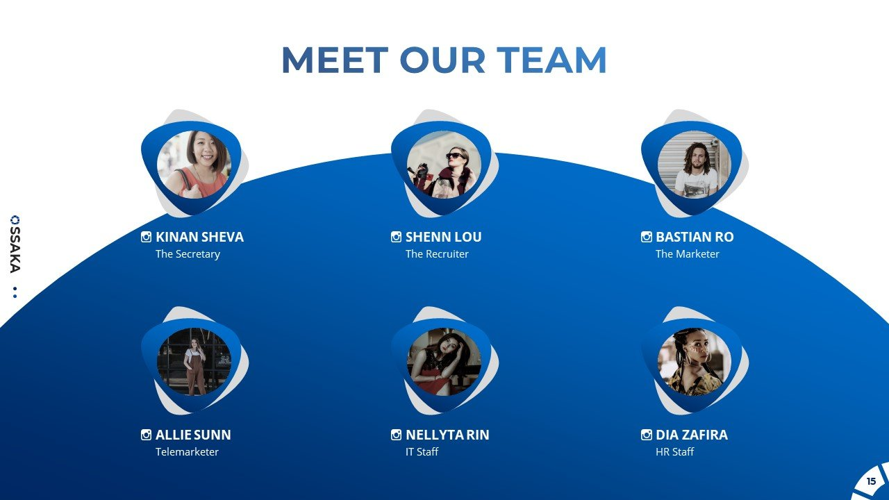 There is a slide for the team, where there is not only a description, but also links to social networks.