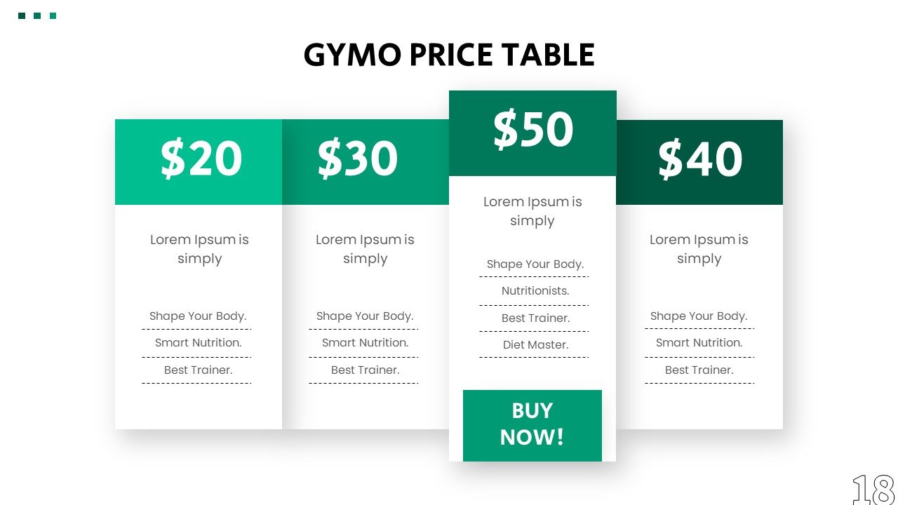 Slide for price list with interactive elements.