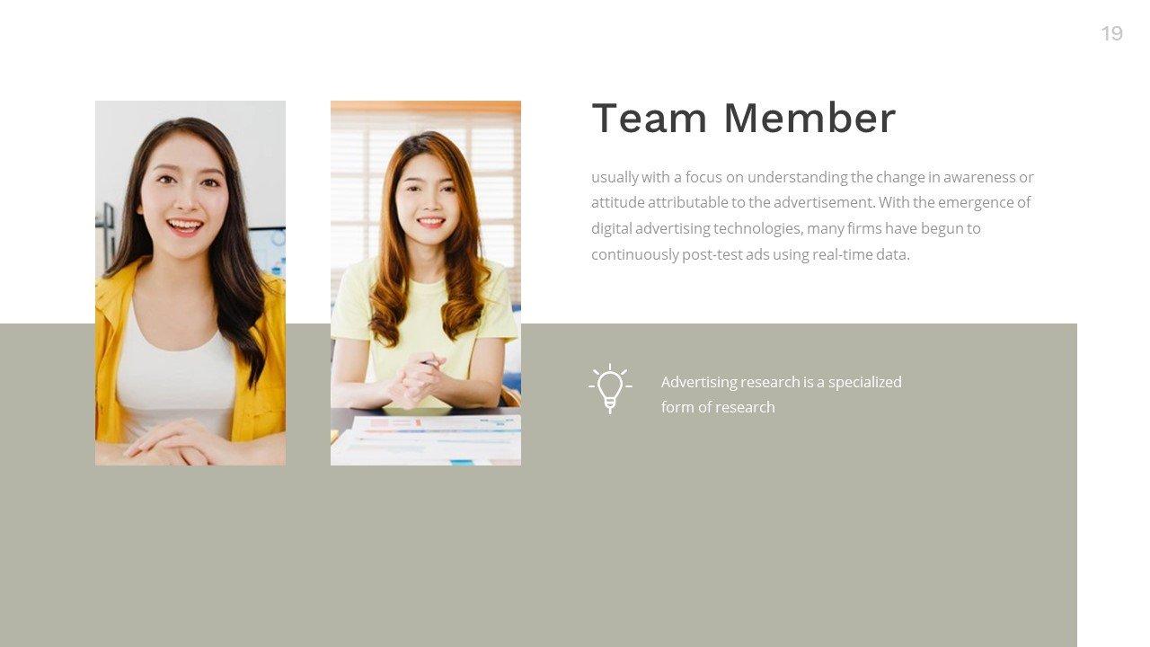 Laconic slide for team member.