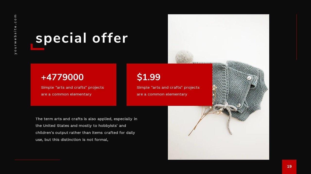 Price blocks in red colors with stylish elements.