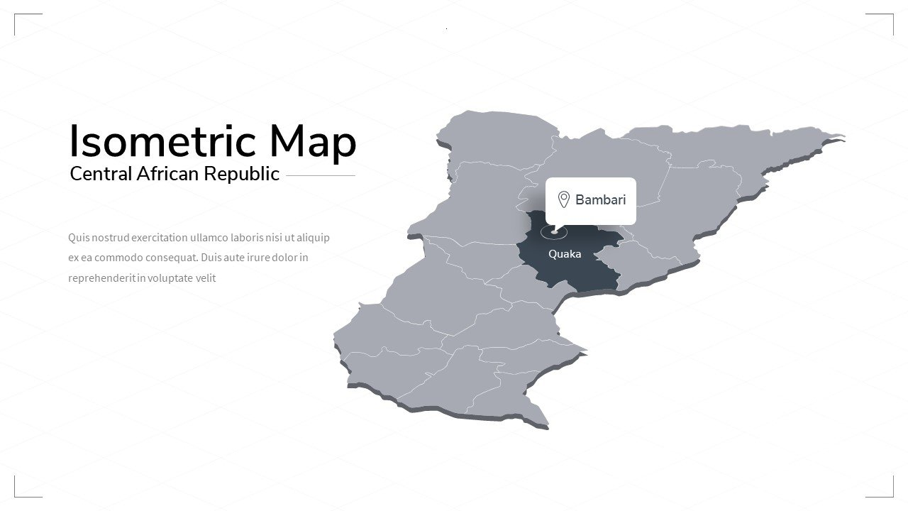 Creative Central Africa gray map with highlighting of the country and its name.