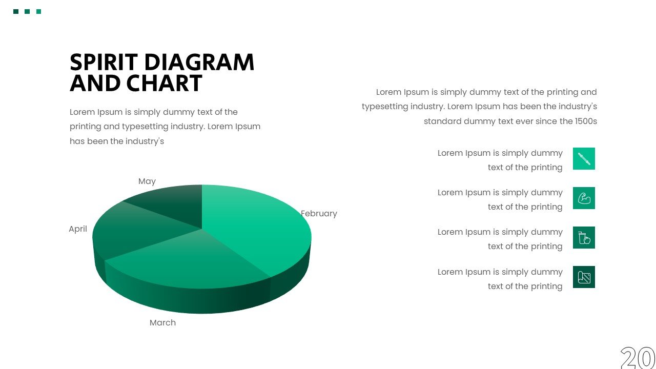 Classic infographics pie in a green shade.