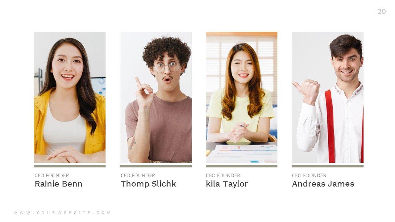 Team slide in minimalistic style.