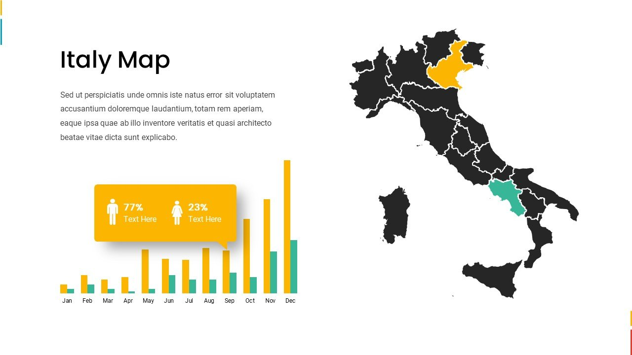 Bright Italy map.