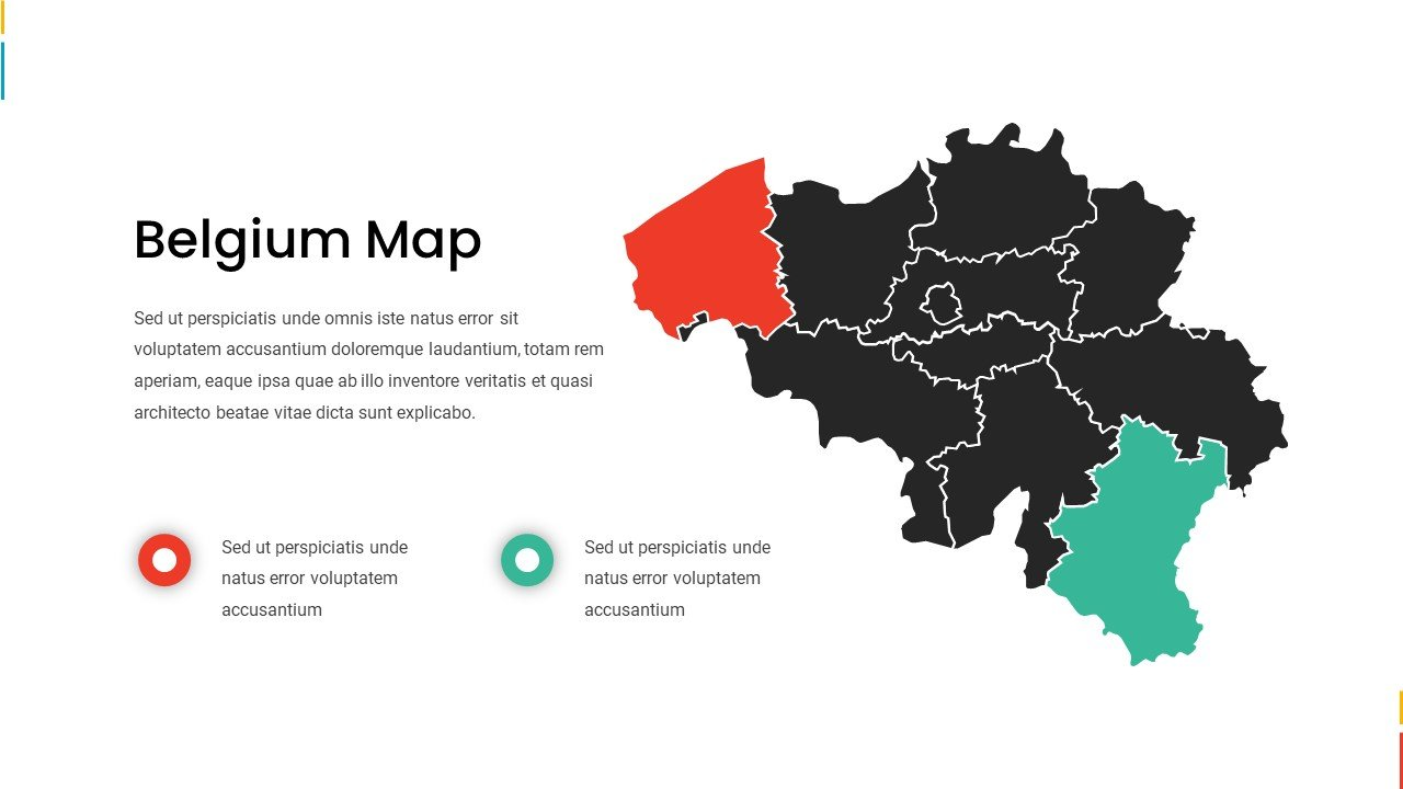 Belgium map in two colors - green and red.