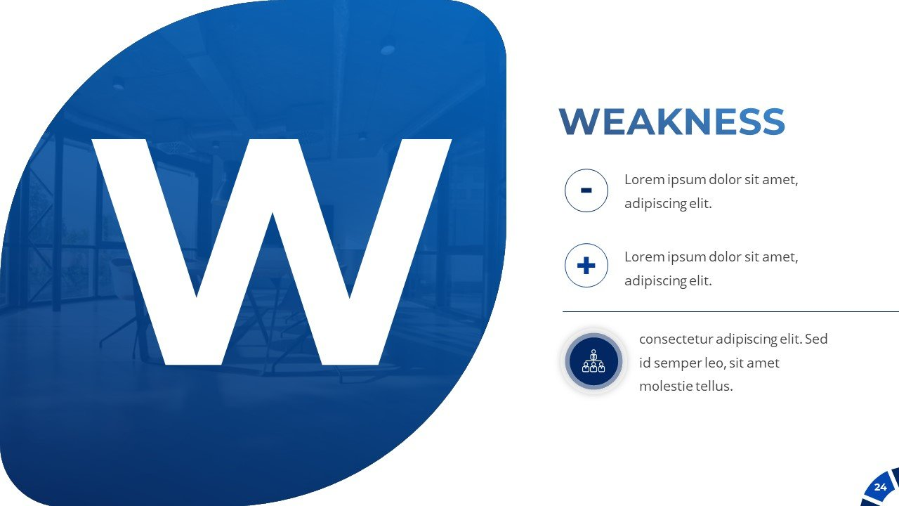 SWOT analysis. Here you can describe the weakness of your project.