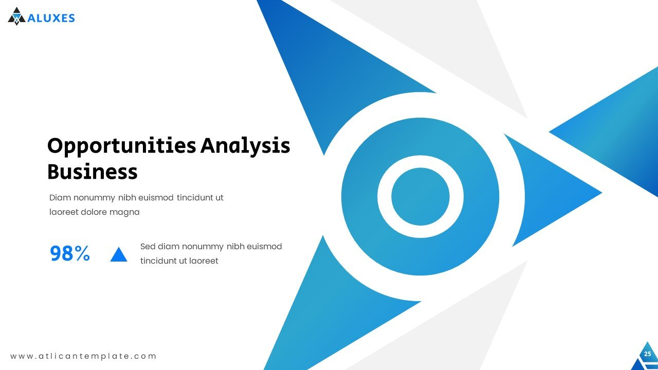 The SWOT analysis in the template is presented separately for each element. This slide highlights opportunities.