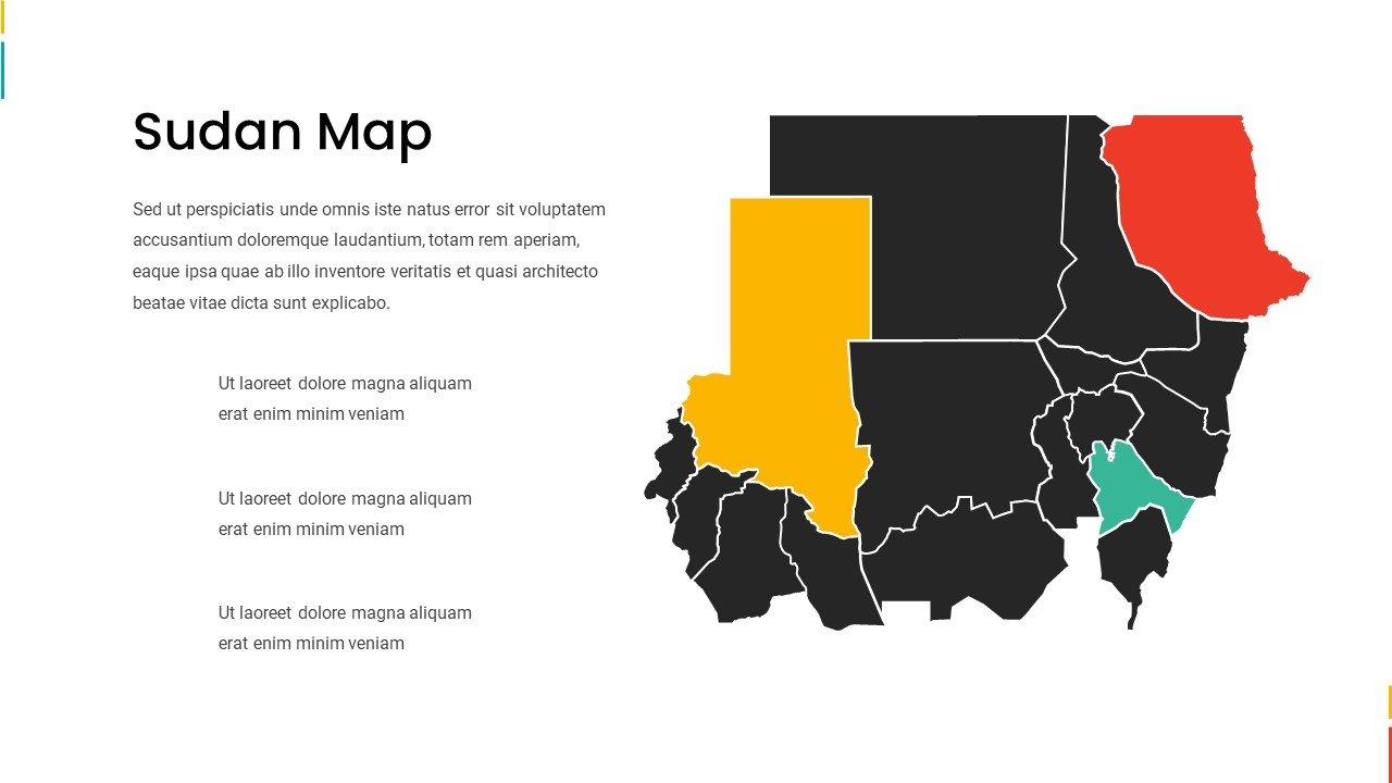 Dark Sudan map with vivid accents.