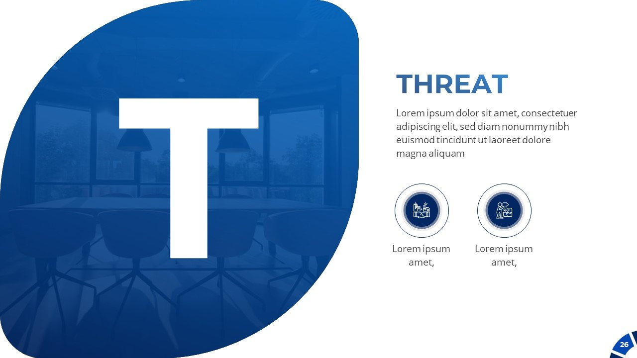 SWOT analysis. Here you can describe the threat of your project.