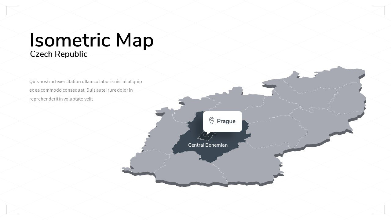 Czech republic isometric map.