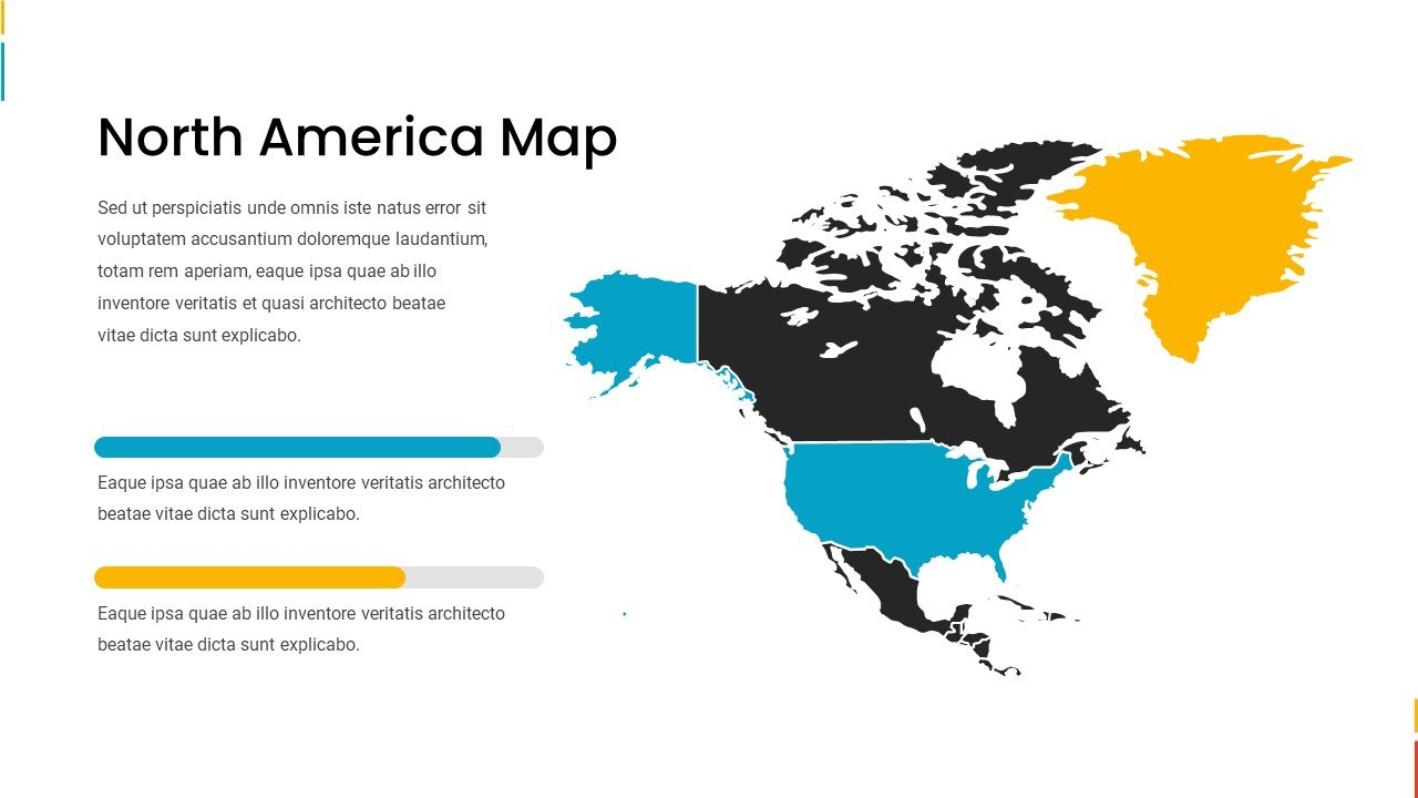 North America map in blue, black, and yellow colors.