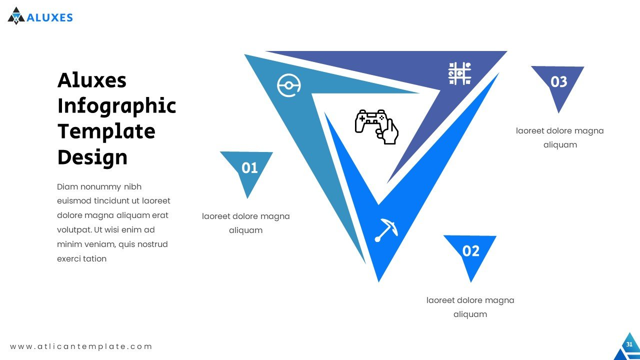 The infographics are built on triangular shapes.