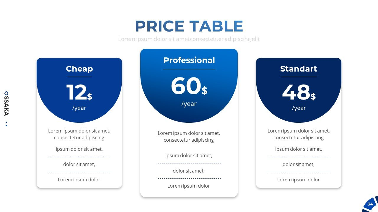 Price table for this business presentation.