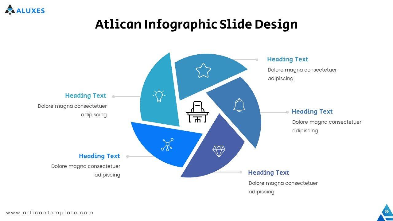 Modern interpretation of pie infographic.