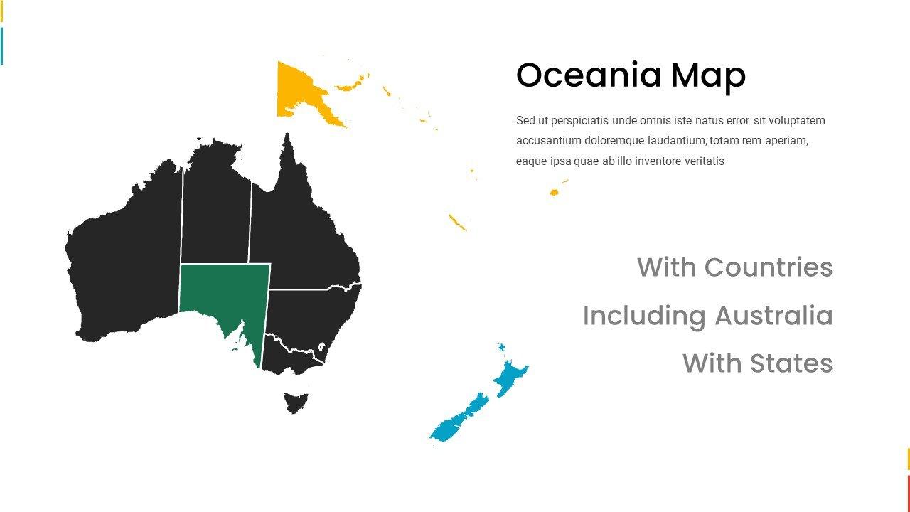 Oceania map in vivid colors.