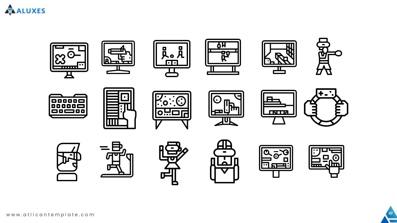 A large collection of icons and elements allows you to decorate your presentation.