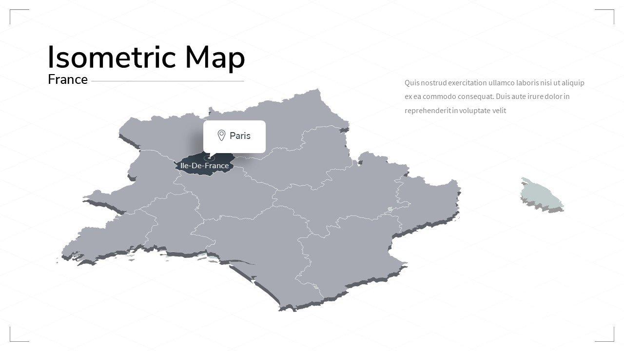 France isometric map.