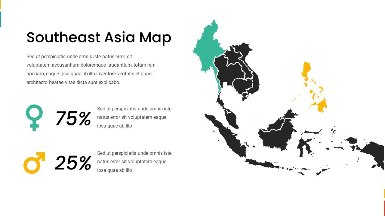 Southeast Asia map with gender statistic.