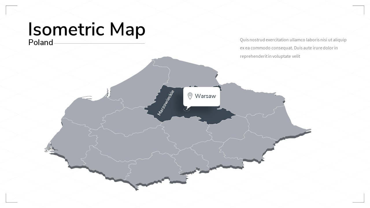 Poland map with the capital.