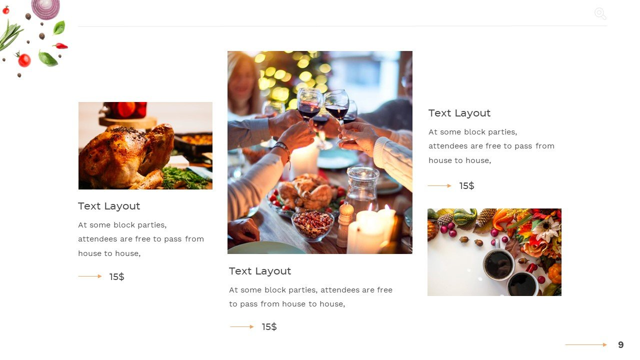 Cascading price list with images.