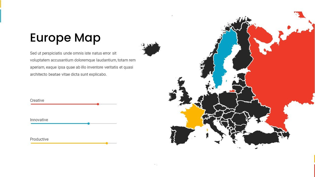 Black Europe map with bright countries designations.