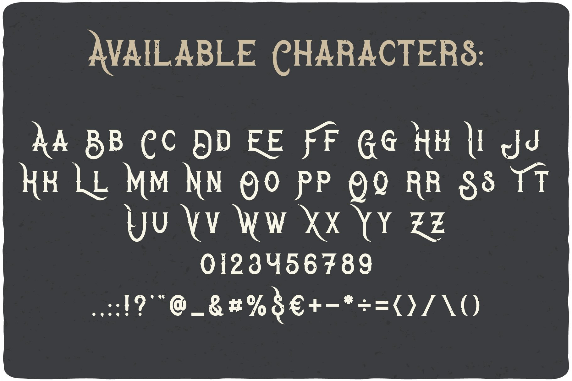 Available characters of Bandidas Typeface.
