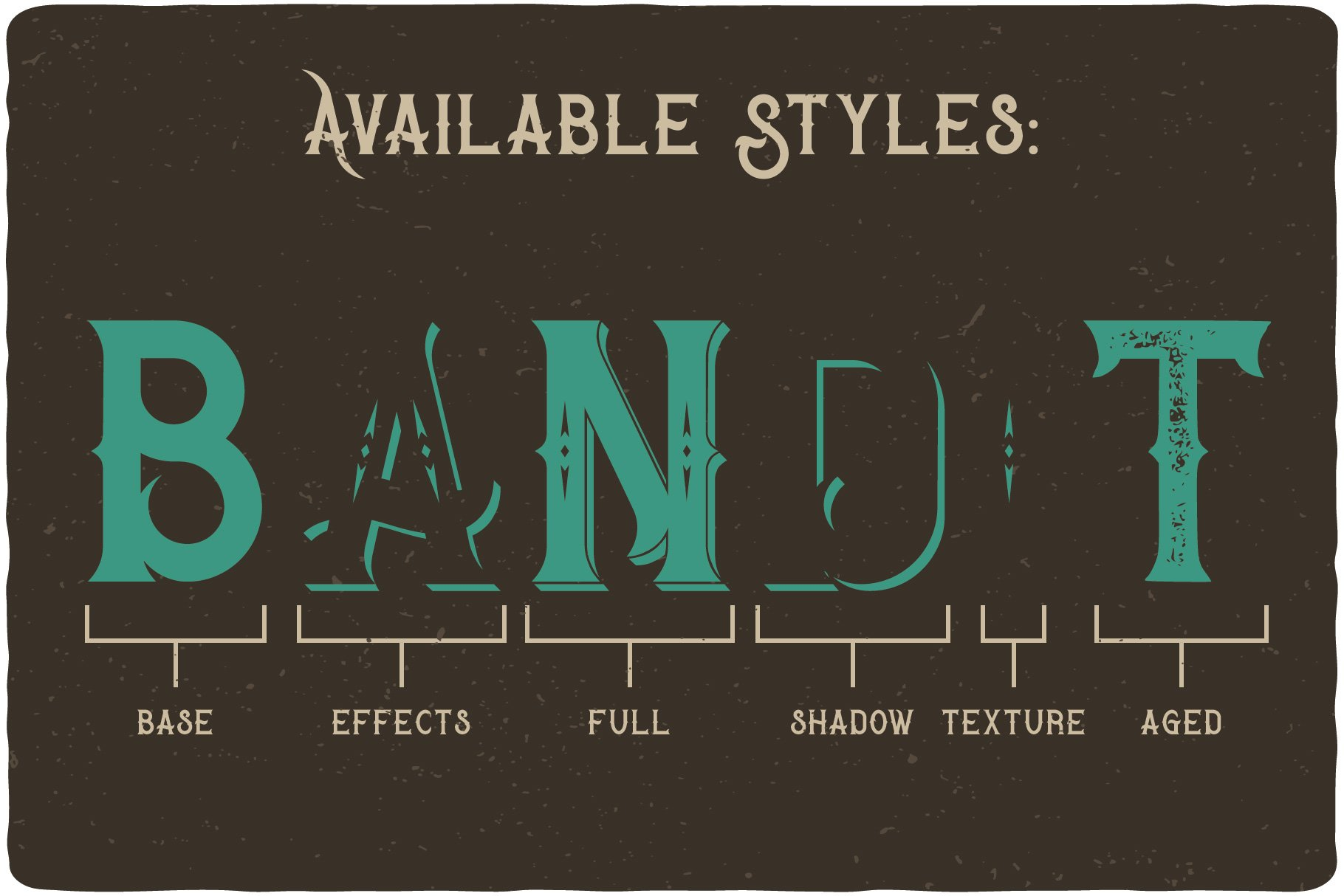 Available styles of Bandidas Typeface.