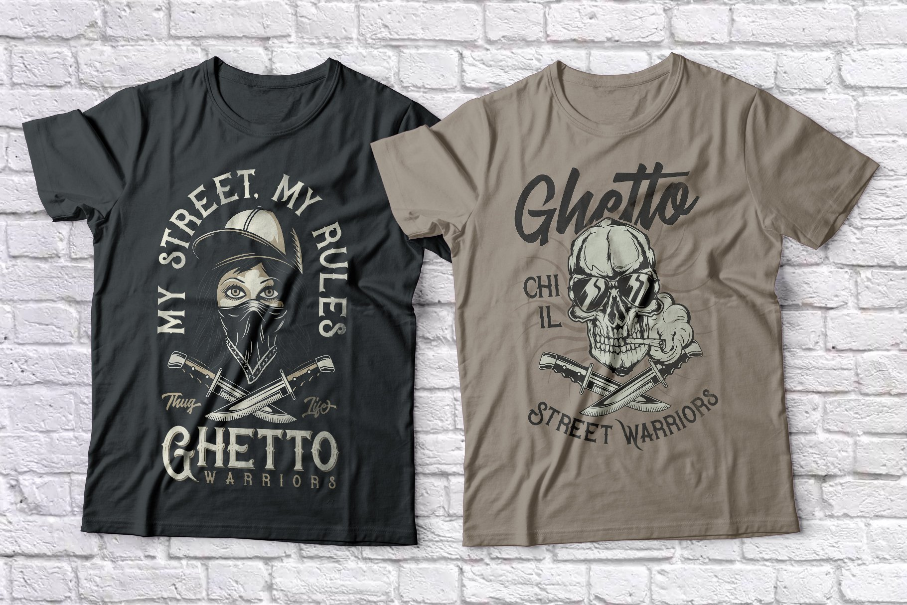 Black and beige T-shirts with a skull and a girl.