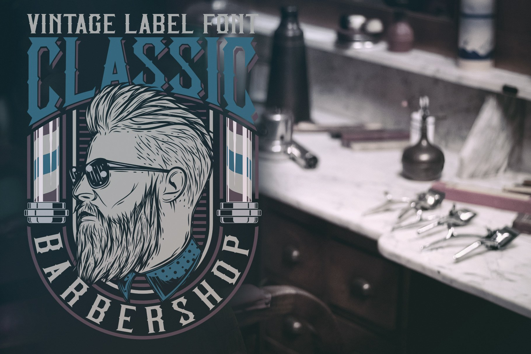 Cool emblem for a barbershop with a man with a good haircut.