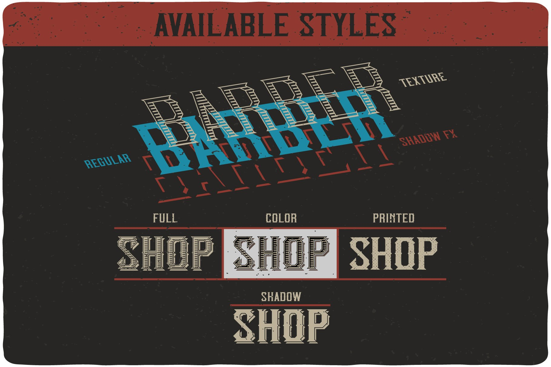 Available styles of Classic BarberShop.