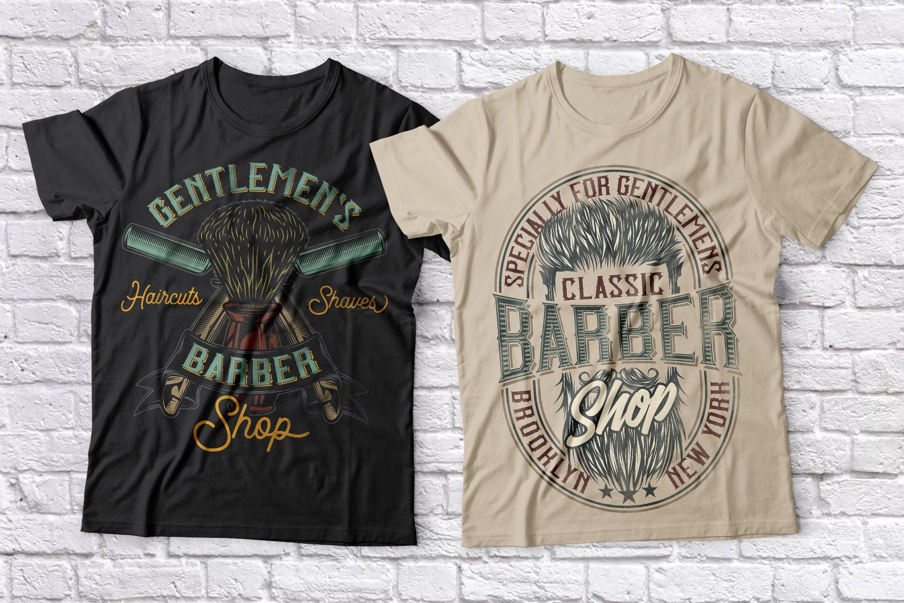 Black and beige T-shirts that show good men's hairstyles.