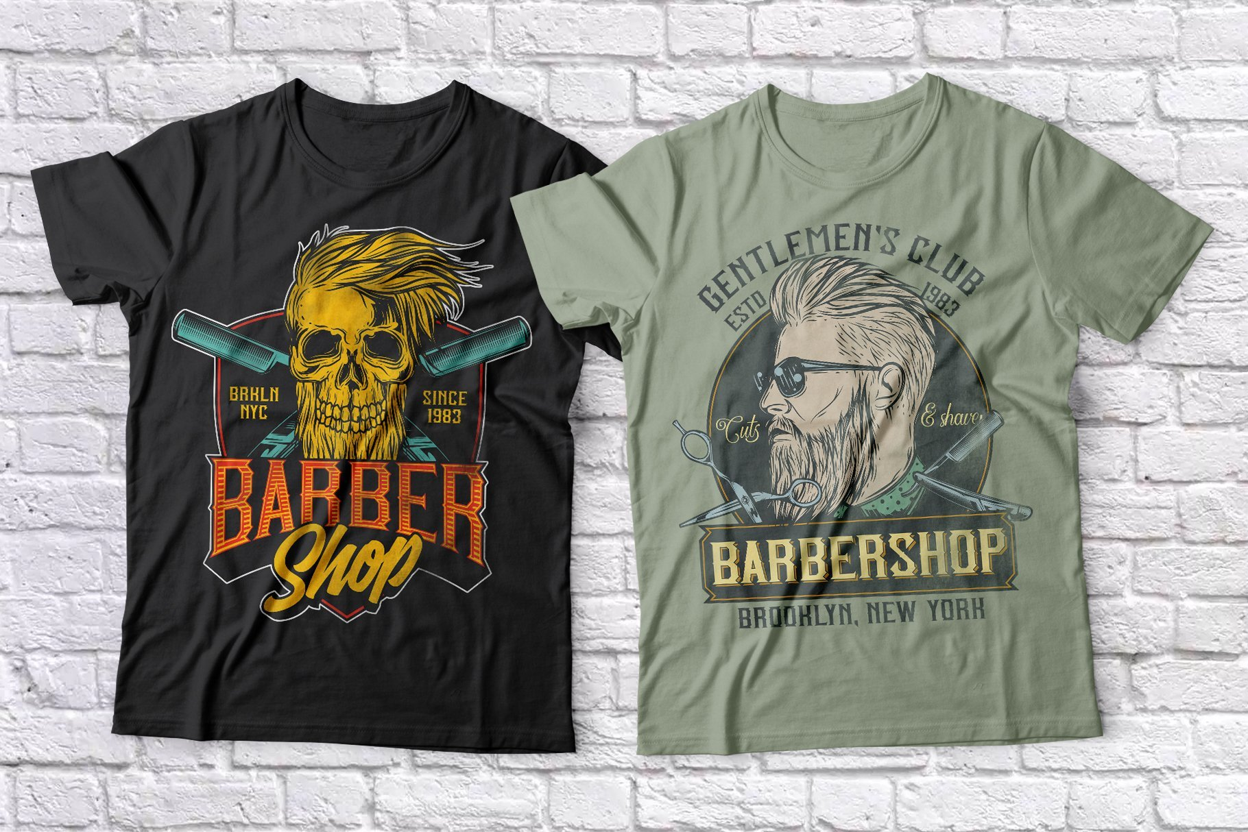 Black and olive t-shirts with a man and a hairy skull.
