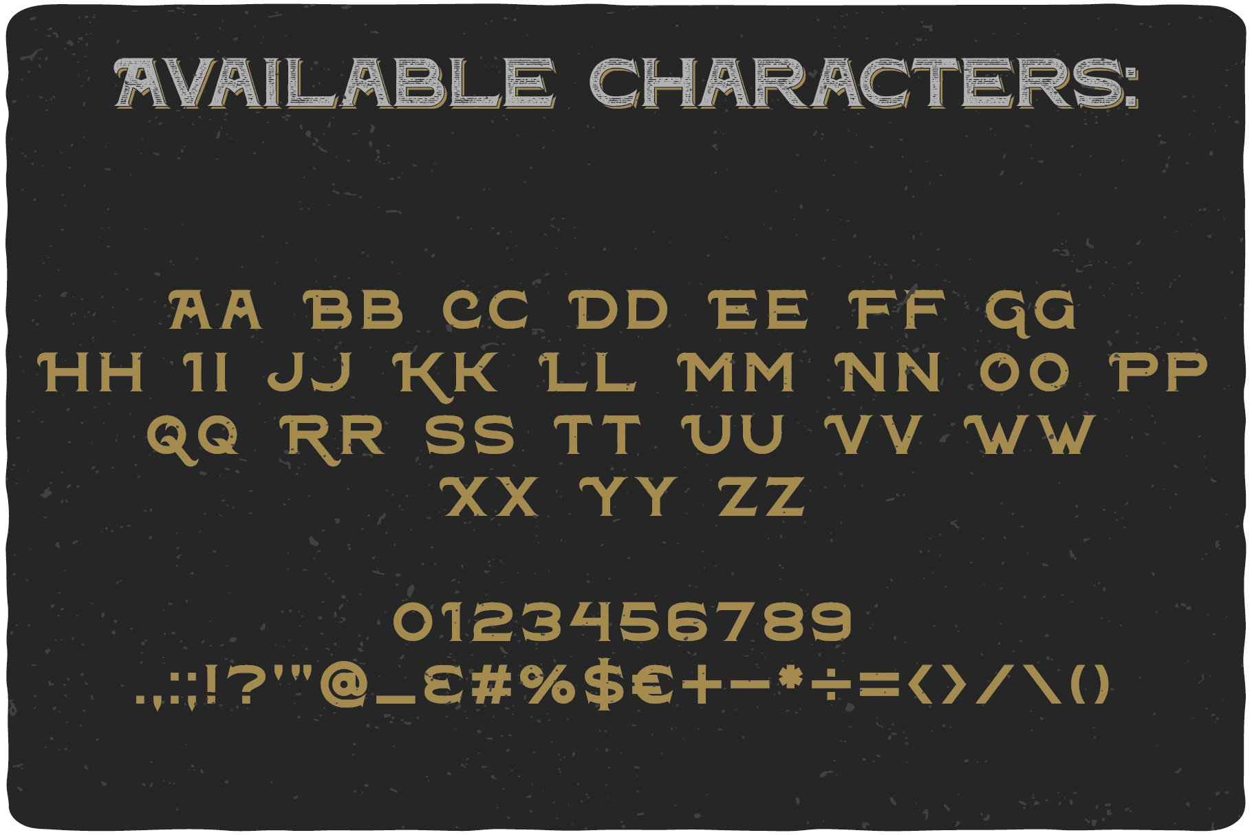 Available characters of Metal Plate.