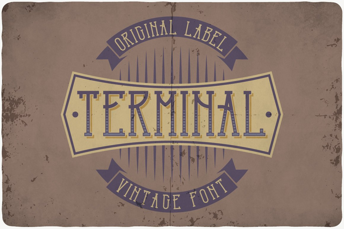 Vintage font in brown shades with thin letters.
