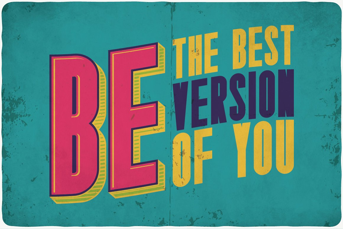 A bright motivating poster in trendy colors for the 90s.