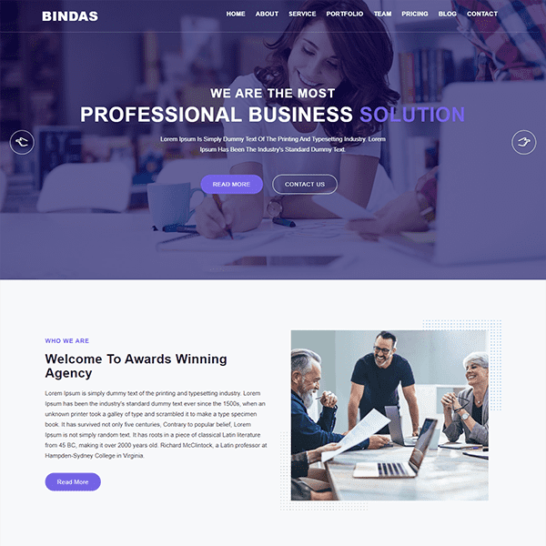Bindas Consulting Business Template cover image.